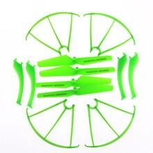 4 pçs hélices + 4 pçs trem de pouso + 4 peças de reposição verde anel protetor para syma x5sc x5sw rc quadcopter zangão