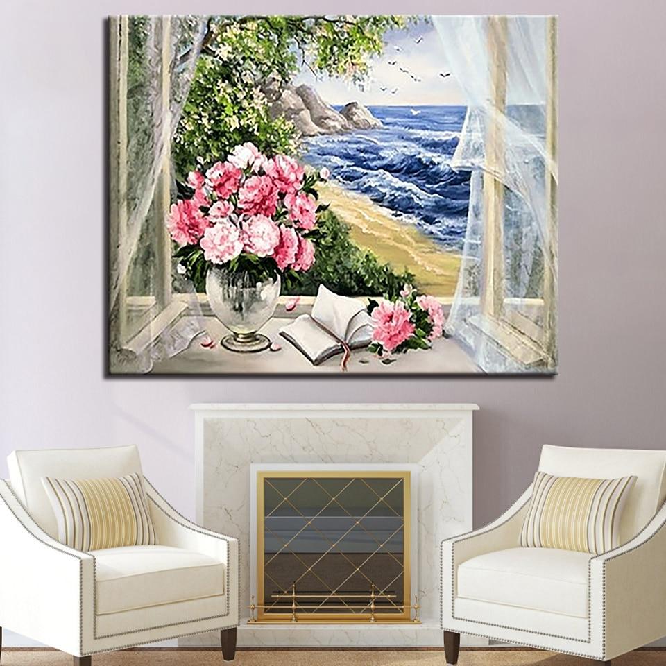 US $1 85 OFF Dekorasi Rumah Lukisan Minyak Bunga Mawar Jendela Pemandangan Laut Oleh Nomor Kit Menggambar Gambar Mewarnai Digital Kanvas Dinding