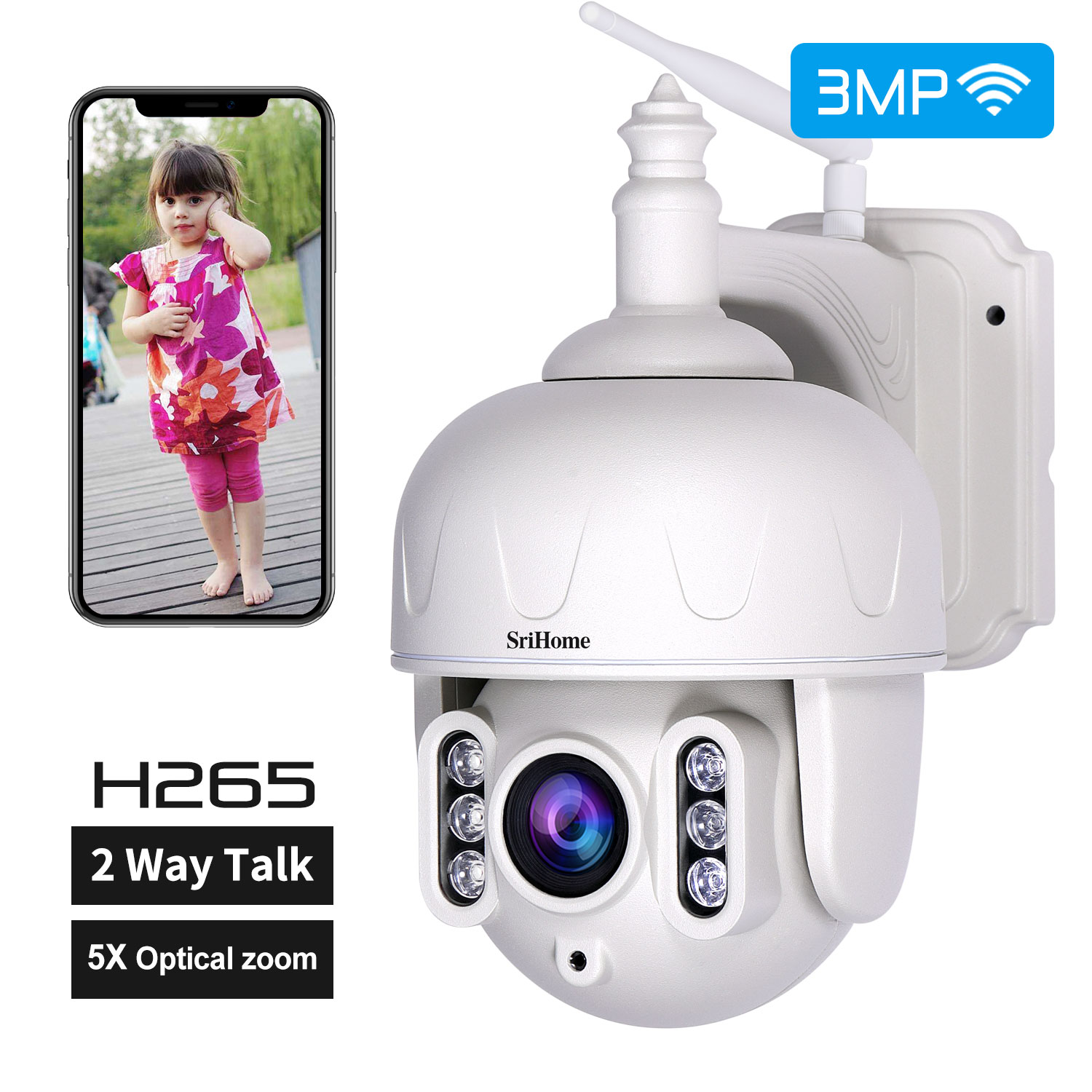 SriHome SH028 3MP 1296P  5X Zoom Wireless PTZ Camera Two Way Intercom CCTV Camera