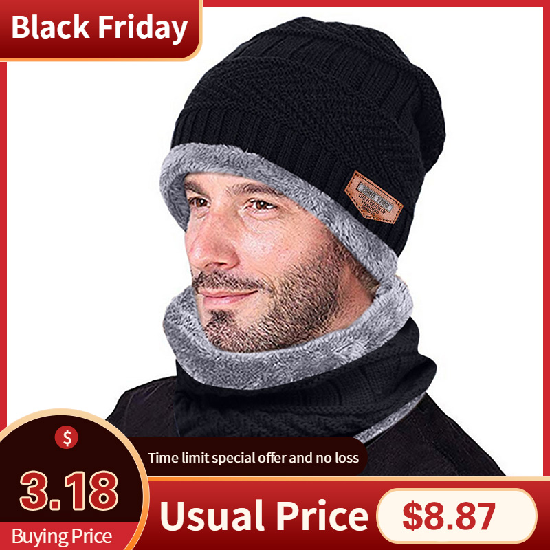 Hats And Scarf 2019Top Men Warm Beanie Winter Thicken Hat And Scarf Two-Piece Knit Windproof Cap New Fashion Winter Tops Hiver