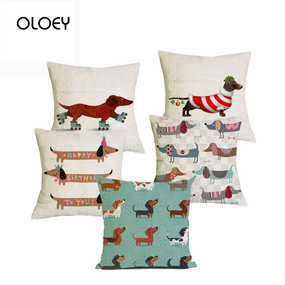 Dachshund Christmas Holiday Cushion Cover 45X45cm Happy Birthday Sausage Dog Cushion Cover New Year Gift Bedroom Car Decoration.