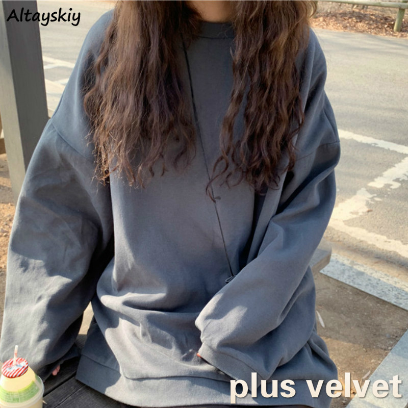 Hoodies Women O-neck Solid Simple Loose Long Sleeve Plus Velvet Pullovers Sweatshirts Korean Style Chic Fashion Daily Womens New