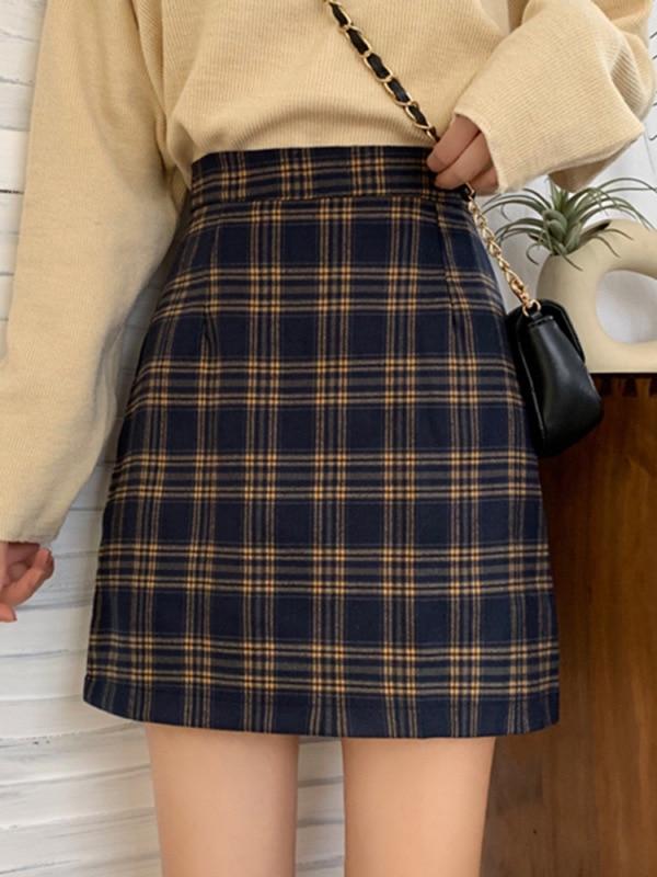Red Plaid Skirt Children 2019 Autumn New Style Korean-style Versatile Retro Sheath Short Skirt A- Line Skirt Online Celebrity