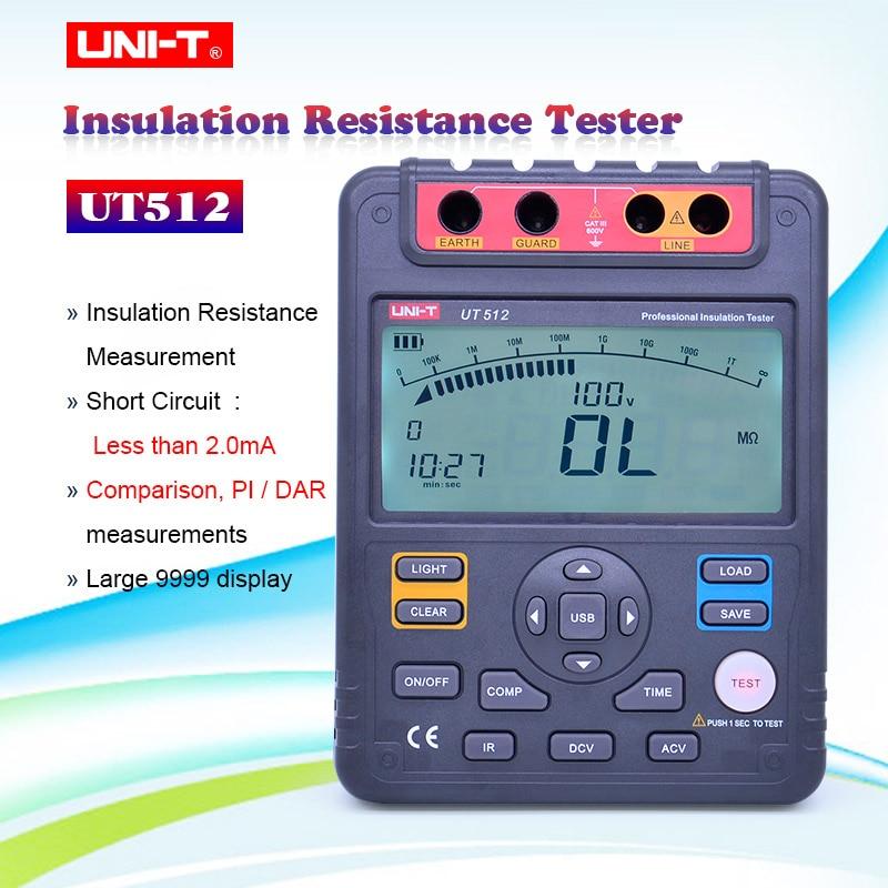 UNI-T UT512 2500V Digital Insulation Resistance Tester Meter Megohmmeter Low Ohmmeter Voltmeter Auto Range Megger USB Interface
