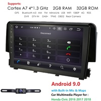 Ossuret 2G RAM 32G ROM 9Inch 2DIN Android 9.0 Car GPS Navigation for Honda Civic 2016 2017 2018 Car Radio Player 4G WIFI RDS CAM