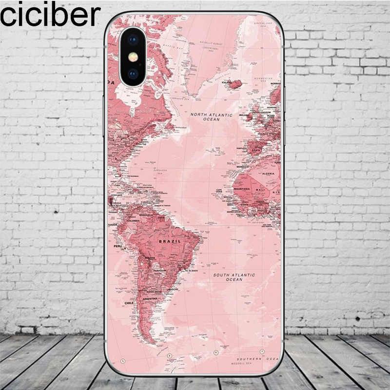Ciciber العالم خريطة السفر الهاتف خزائن هاتف آيفون 11 برو ماكس غطاء ل فون XR 8 7 6 6S زائد X XS ماكس 5S SE لينة TPU قذيفة كوكه