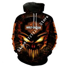 New Harley Davidson Fire Skull #2 All Over Print Hoodie 3D All Size