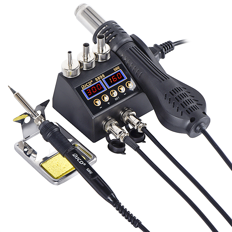 Tools : JCD LCD Heating Electronic Welding Station 2 in 1 Soldering Station for Rework Phone BGA SMD PCB IC Repair Solder Tools 8898