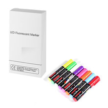 8 Colors/box 6/8/10mm Highlighter Fluorescent Liquid Chalk Marker Pen for LED Writing Menu Board Glass Window Sign flashcolor15mm white pink liquid chalk marker for led writing board glass window highlighter fluorescent pen school art painting