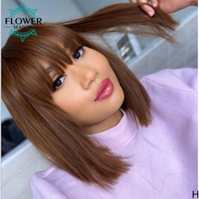 Human-Hair-Wig Bangs Brown Wig Short Bob Straight Brazilian Remy-Machine Colored Honey