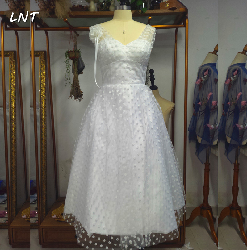 Wedding Factory Sweetheart Neck Dots Short Wedding Dresses Real Pictures Bridal Gowns