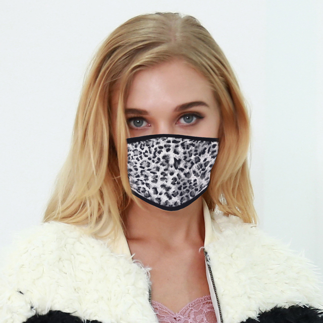5pcs Leopard Acrylic & Spandex Black Mouth Mask Anti Dust Mask Activated Windproof Mouth-Muffle Bacteria Proof Flu Face Masks 4