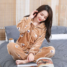 Thick Winter Women Pajamas Set Flannel Pyjamas Thicken Pijama Sleepwear Girl Nightgown Homewear Long Pant