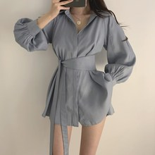 2019 Fall Women Korea Turn-Down Collar Blouse Loose Elegant Lantern Sleeve Shirt Solid Female Long With Belt