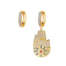 925 Sterling Silver Asymmetric Yellow Gold Color Hamsa Hand Lucky Palm Earrings Multicolor Zircon Women Monaco Jewelry(China)