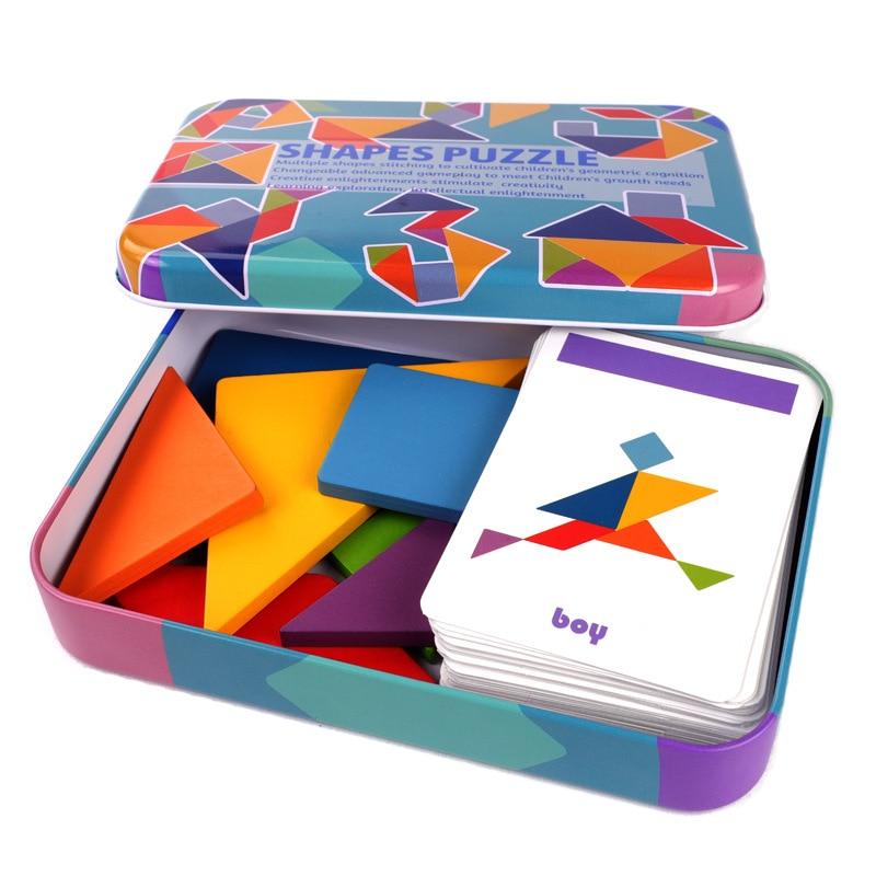 3d padrão de madeira animal quebra-cabeça colorido tangram brinquedo crianças montessori educação precoce jogos de classificação brinquedos das crianças presente