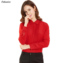 100% Natural Silk Blouse Women 2019 Fall Plus Size Cardigan Elegant Real Red Shirt Long Sleeve Button Tops