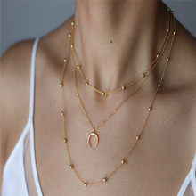 Simple Boho Horn Coin Gold Silver Chain Beads Choker Necklace Women Layerd Chocker Necklaces For Jewelry Gift