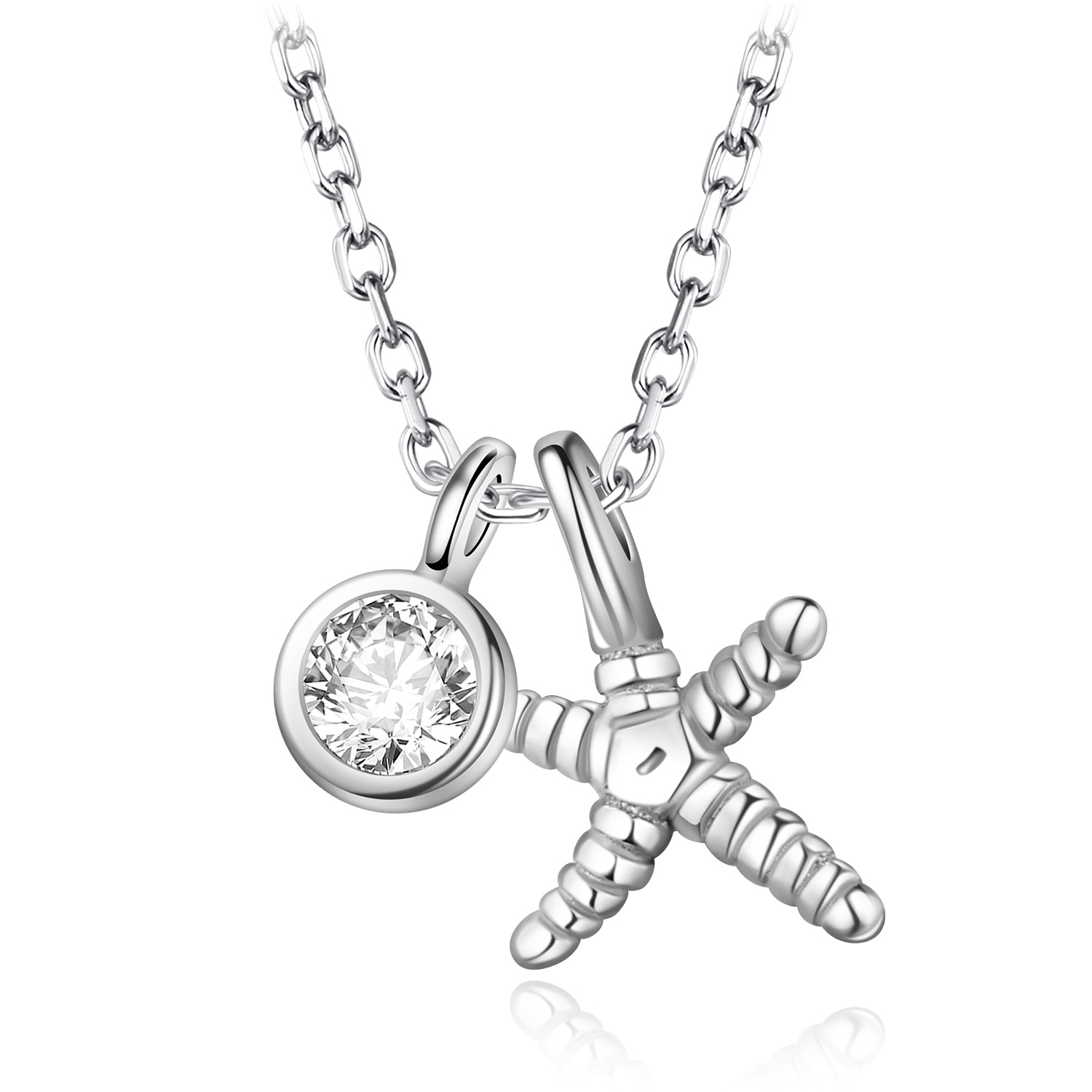 925 Sterling Silver Starfish Pendant Necklaces For Women Link Chain Choker Necklace Gift Fashion Jewelry collares de moda 2020 image