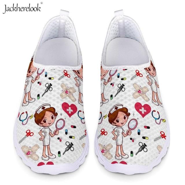 Jackherelook Cartoon Nurse Printing Women Flats Shoes Girls Nursing Shoe Work Walking Sneakers Female Air Mesh Shoes Light Weigt