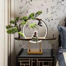Anillo de aluminio adornos Zen lámpara de mesa creativa sala de estar casa fortuna té ceremonia Lámpara de mesa decorativa