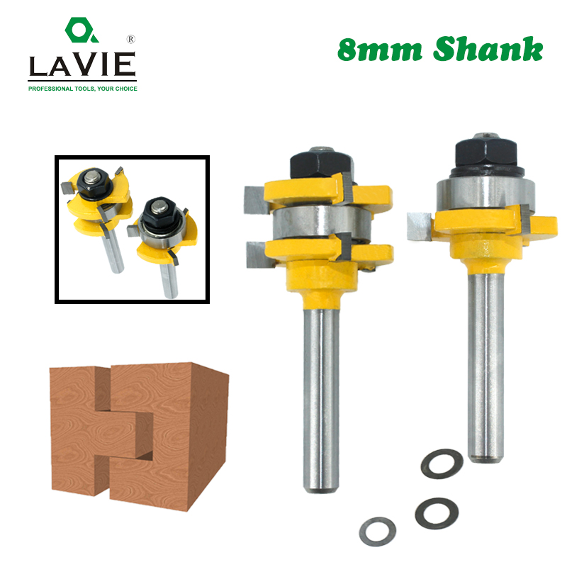 LAVIE 2pcs 8mm Shank Joint Assemble Router Bits Tongue & Groove T-Slot Milling Cutter For Wood Woodwork Cutting Tools MC02121