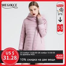 MIEGOFCE 2020 bahar sonbahar ceketi eğik kesim parlak kadın ceketi ince pamuk ceket rüzgar geçirmez sıcak örme kollu ceket