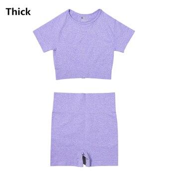 4PCS Seamles Sport Set Women Purple Two 2 Piece Crop Top T-shirt Bra Legging Sportsuit Workout Outfit Fitness Wear Yoga Gym Sets 30