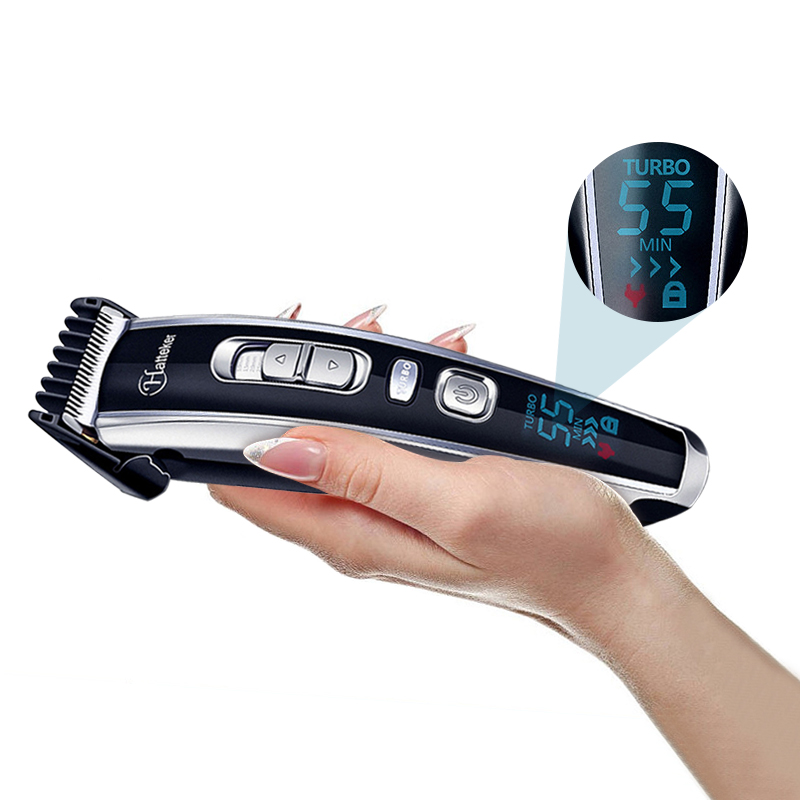 Men's Professional Digital Hair Trimmer Cordless Haircut Machine Adjustable Ceramic Blade Rechargeable Electric Hair Clipper 40D