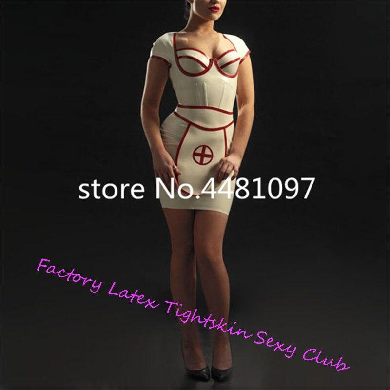 Sexy Latex caoutchouc blanc infirmière robe avec tablier Latex uniforme ensemble (pas de casquette) sexy halloween costumes sur mesure - 2
