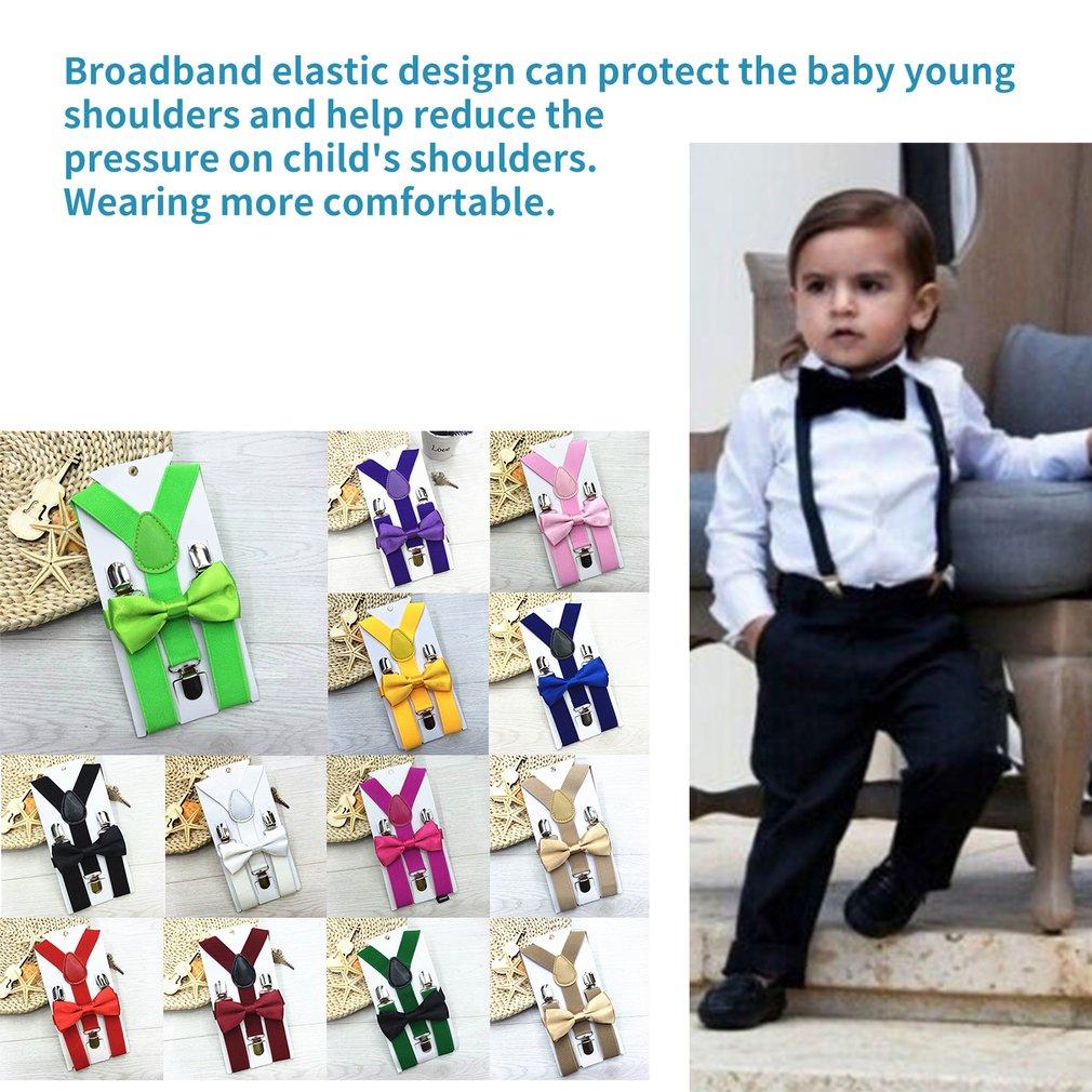 Kids Suspenders With Bowtie Fashion Children Bow Tie Set Boys Girls Adjustable Suspenders Baby Wedding Ties Accessories 13Colors