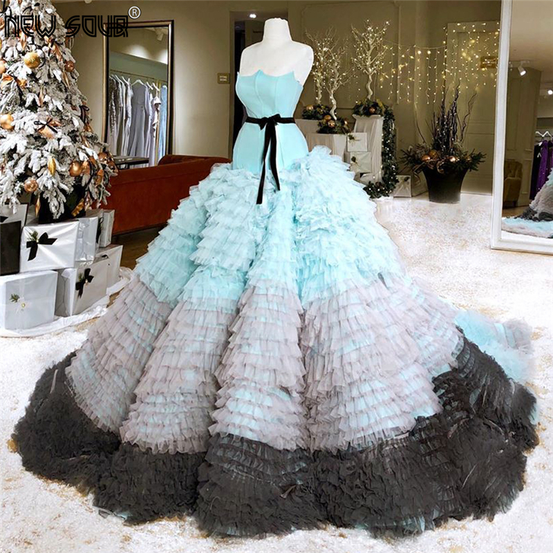 Princess Tiered Evening Dresses Multi Color 2020 Robe De Soiree Couture Arabic Dubai Party Gown Long Women Prom Dress Kaftans