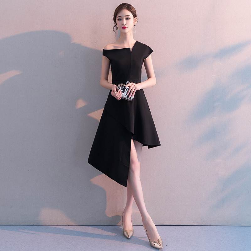 Black And White With Pattern Banquet Evening Gown 2019 New Style Spring Nobility Elegant Debutante Slim Fit Annual General Meeti