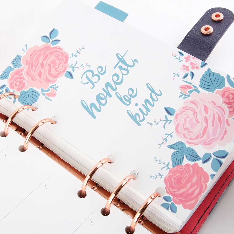 NEVER 6Pcs/Set Love Of Roses Spiral Notebook Dividers Index Pages 6 Hole Loose Planner A6 Bookmark Gift Office School Supplies
