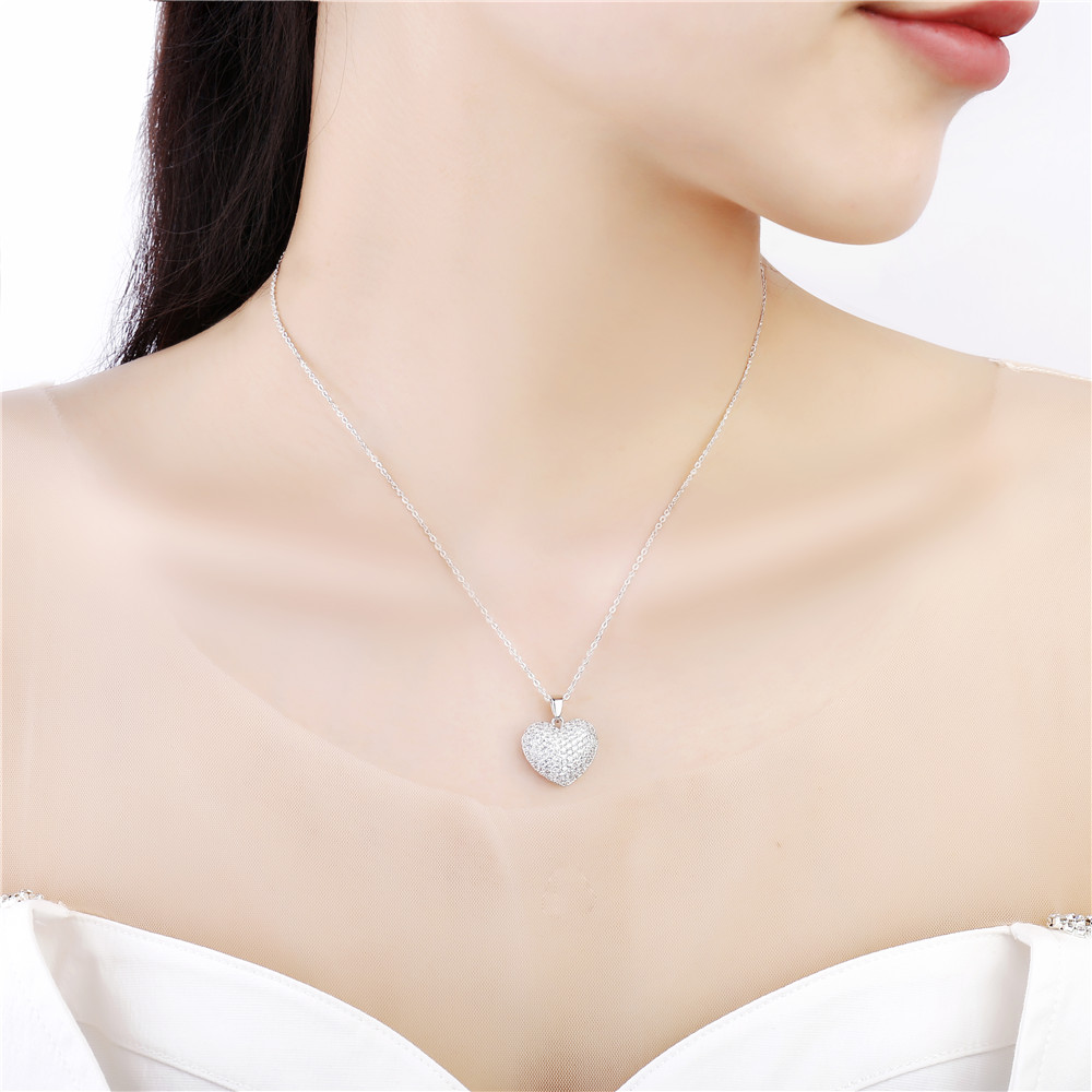 Small Clear Cubic Zircon Heart Necklace For Women Gold CZ Crystal Pendant Choker Wedding Party Gifts Trendy Jewelry 2020 New