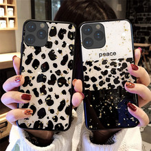 Gold Foil Bling Leopard spot Phone Cases For iphone 11 Pro Max Case Cover For iPhone 7 8 6 6S Plus X XR XS Max Glitter case(China)