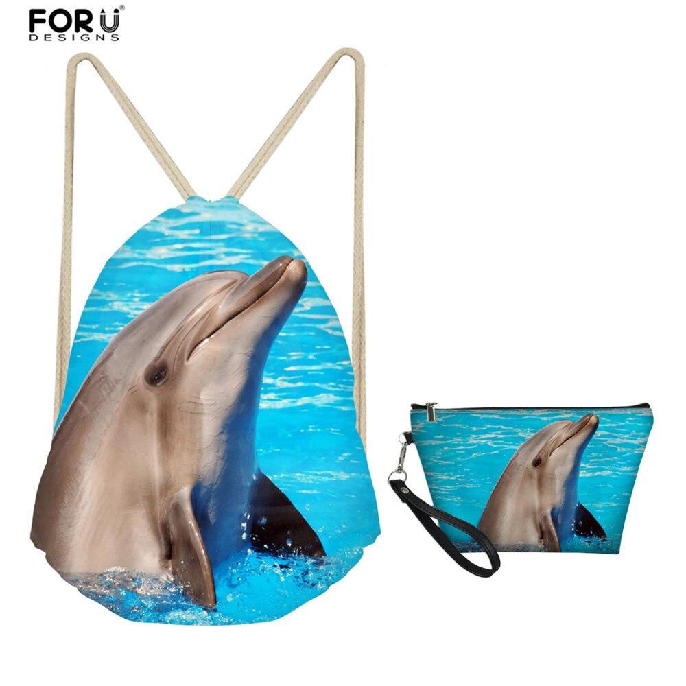 FORUDESIGNS Girls Boys Travel Shoulder Drawstring Bag 2 Pcs Set Animal 3D Dolphin Design Softback With Cosmetic Organizer Bags