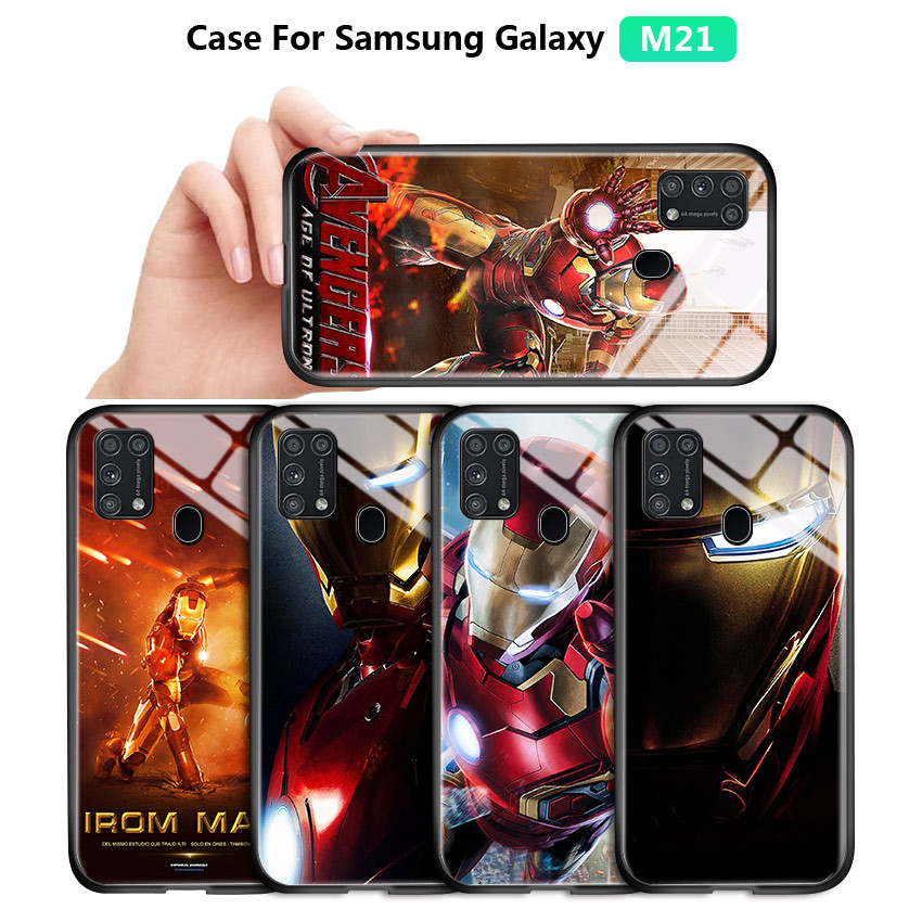 Cover For <font><b>Samsung</b></font> Galaxy M21 M31 <font><b>M30S</b></font> M30 M20 M10 Marvel Avenger Superhero Ironman Casing Luxury Glossy Tempered <font><b>Glass</b></font> <font><b>Case</b></font> image