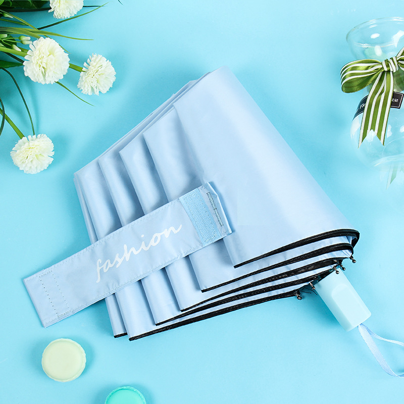 Hipster Three Fold Umbrella Solid Color Vinyl Parasol College Style Sun-resistant UV-Protection Folding Umbrella Advertising Cus