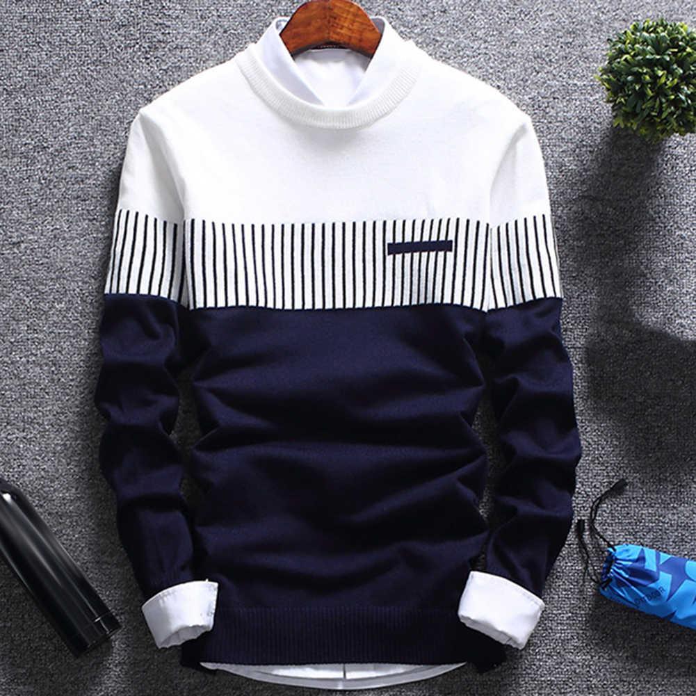 ホットファッションの男性のカラーブロックパッチワークoネック長袖ニットセータートップブラウスポリエステルスパンデックスカジュアル暖かいメンズセーター
