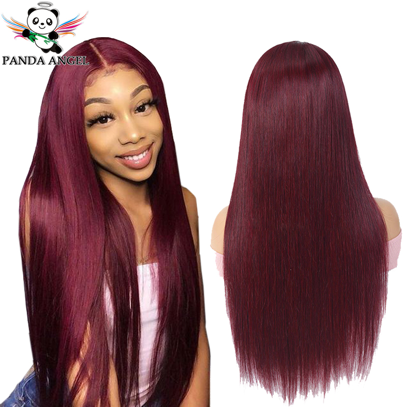 Panda 99j Burgundy Straight Wig Lace Front Human Hair Wigs 150% Indian Remy 13*4 Red Transparent Lace Front Wigs For Black Women