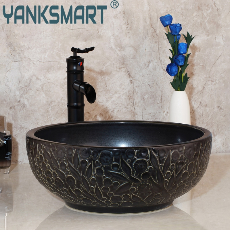 Bathroom Sink Basin Vanity Lavatory Ceramic Golden-Tap Wash Faucet-Mixer Waterfall Bamboo