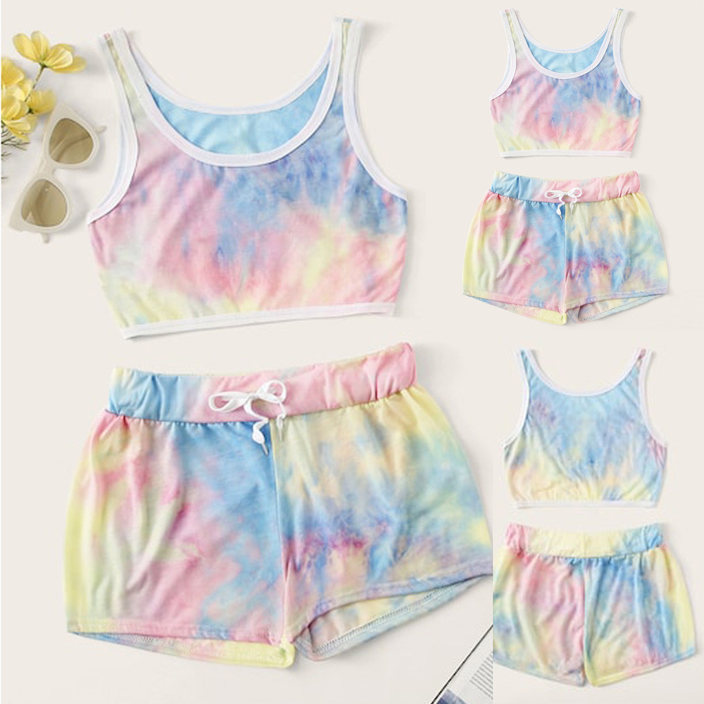 Fashion Womens Casual Color Sleeveless Tank Short Top Lace Up Short Pants Suit Sportswear For Health Girls 2020 Ladies Sets FC
