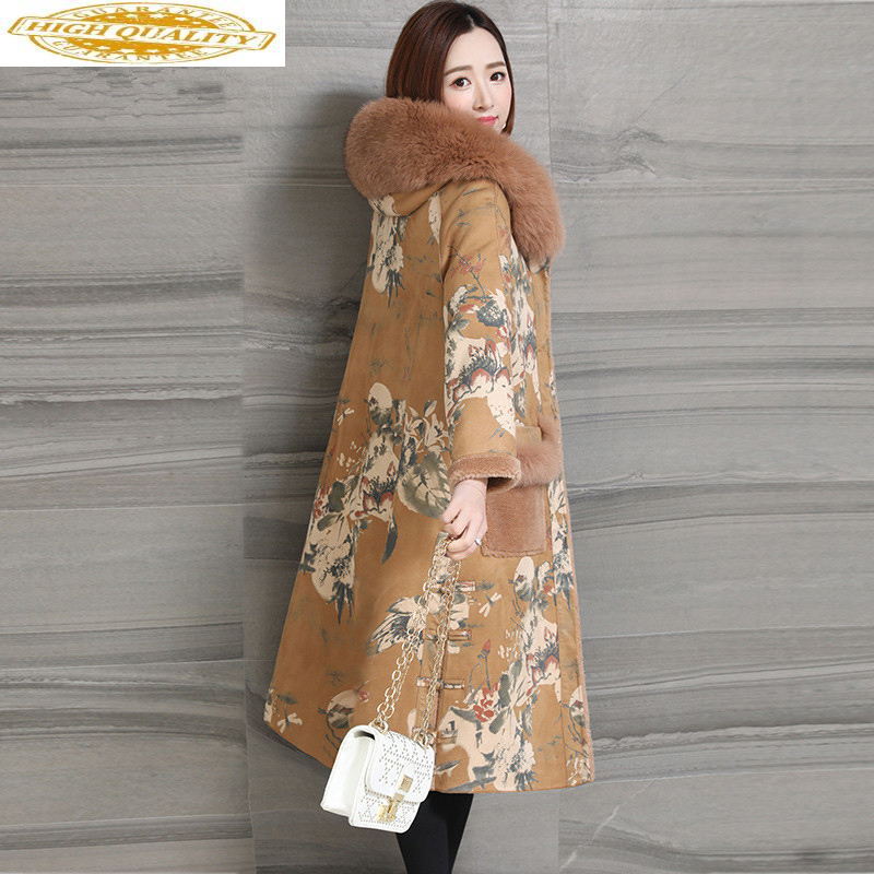 Sheep Shearling Real Fur Coat Winter Jacket Women Fox Fur Collar 100% Wool Coat Female Double Side Wear Long Jackets MY