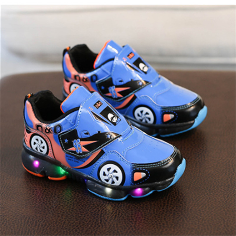 Baby Kids Boys Shoes Car Luminous Sneaker For Boys Led Children Shoes With Light Up Toddler Boys Sport School Shoes Size 24-33