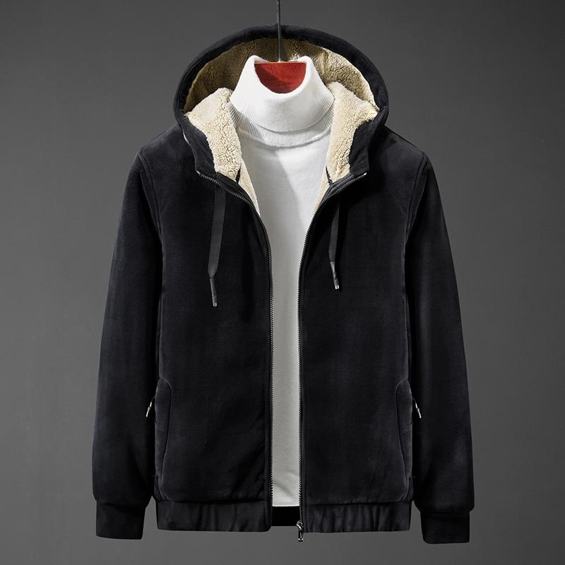 Men's hoodie  jacket coat lamb down men's sweater coat plus size Silver fox cashmere men's warm  jacket 5