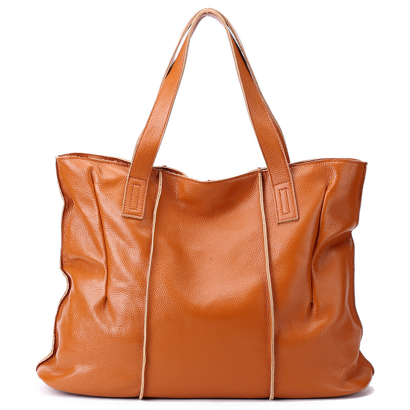 100% Genuine Leather Handbags Large Capacity Women Shoulder Bag Retro Tote Purse High Quality Hobos Brown Travel Shopping Bags