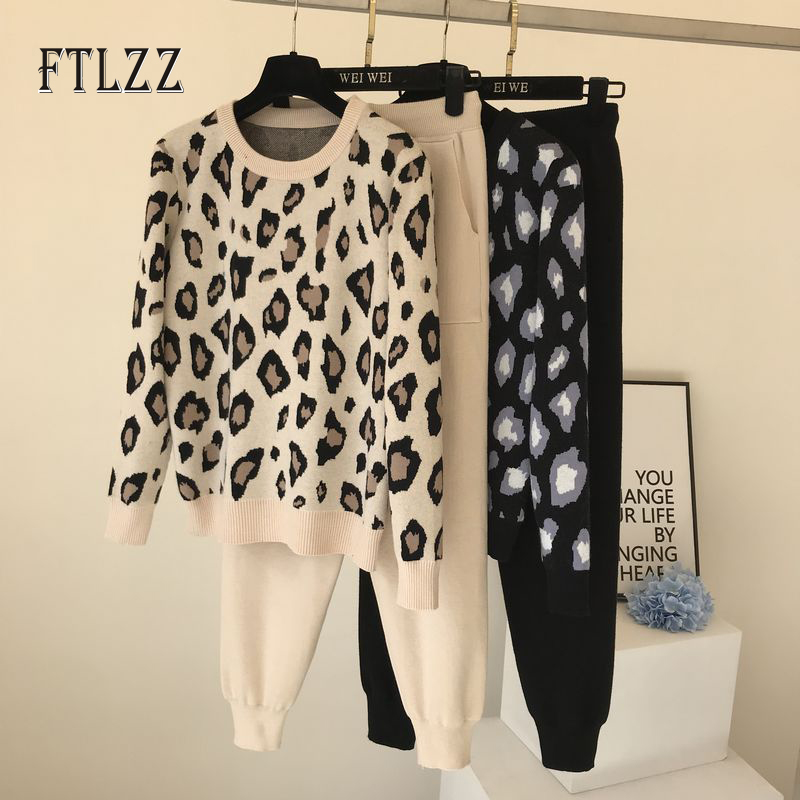 New Woman Tracksuit Fashion Clothing 2020 Spring Autumn Leopard Pullover Sweater + Long Pants Knitted Suits Women Two Piece Sets