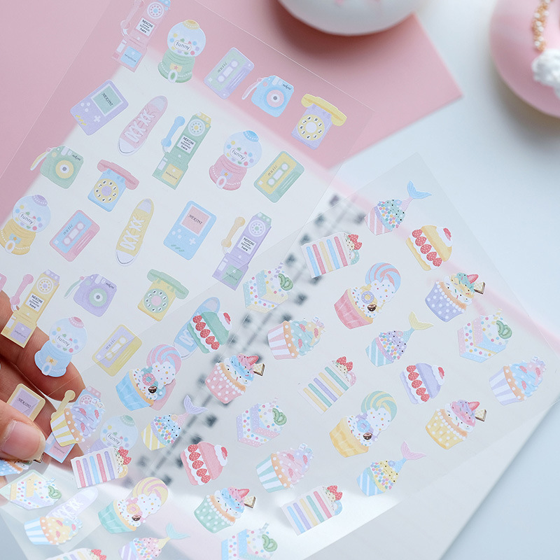 Korean Nekoni Magic Laser Macaroon Sweet Pink Stickers DIY Scrapbooking Bullet Journal Stationery Stickers Cake Label Stickers