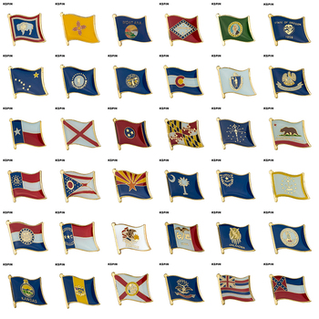 Flag Laple Pin Badge Brooch Pins Mississippi Hawaii North Dakota Florida Philadelphia Kansas Virginia Oklahoma Iowa Illinois image